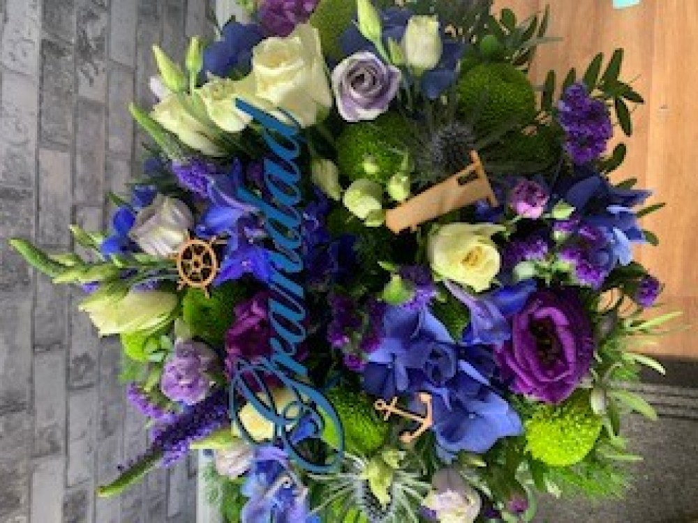 Purple & Blue Posy Embelished